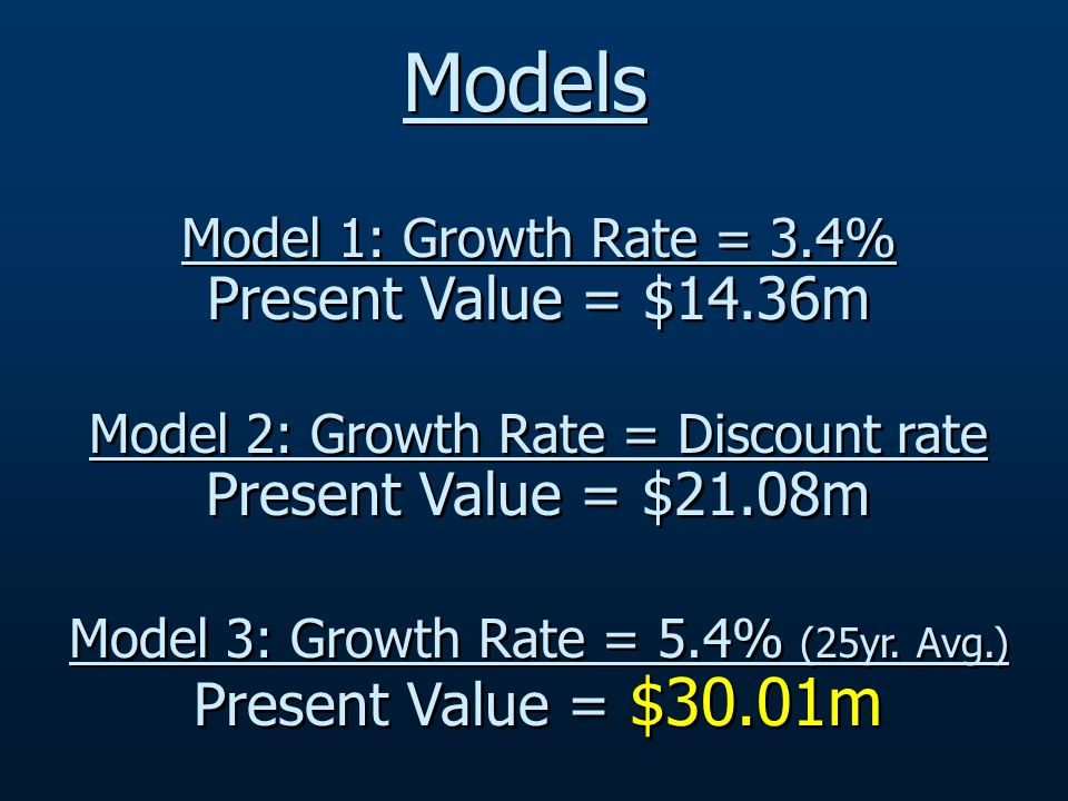 Model 1: Growth Rate = 3.4% Present Value = $14.36m Model 2: Growth Rate = Discount rate Present Value = $21.08m Model 3: Growth Rate = 5.4% (25yr.