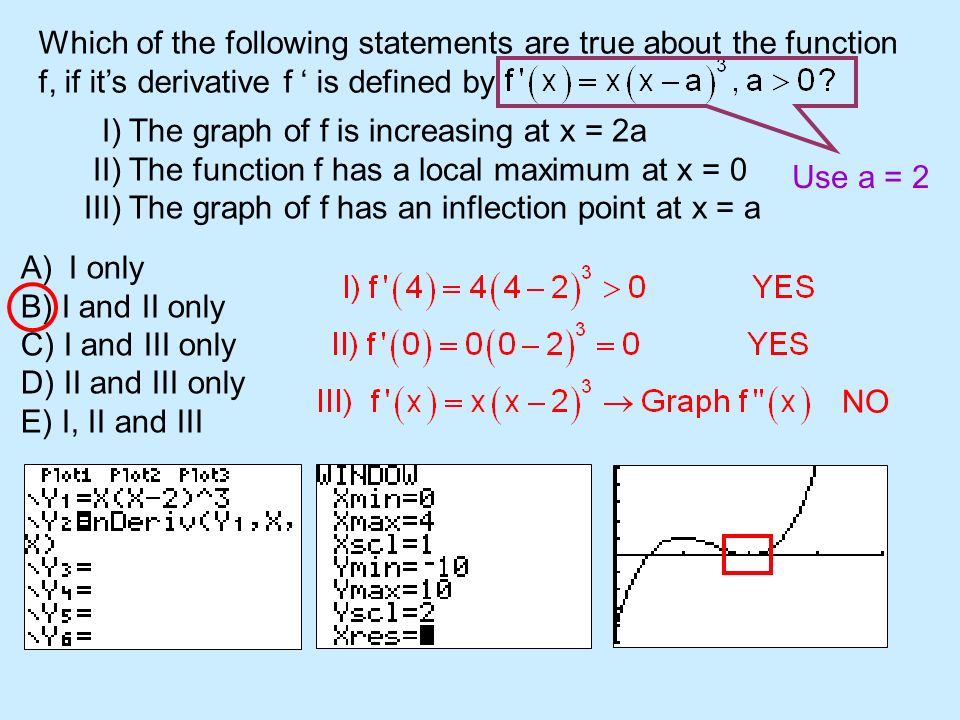 Which of the following statements are true about the function f, if its derivative f is defined by I) The graph of f is increasing at x = 2a II) The f