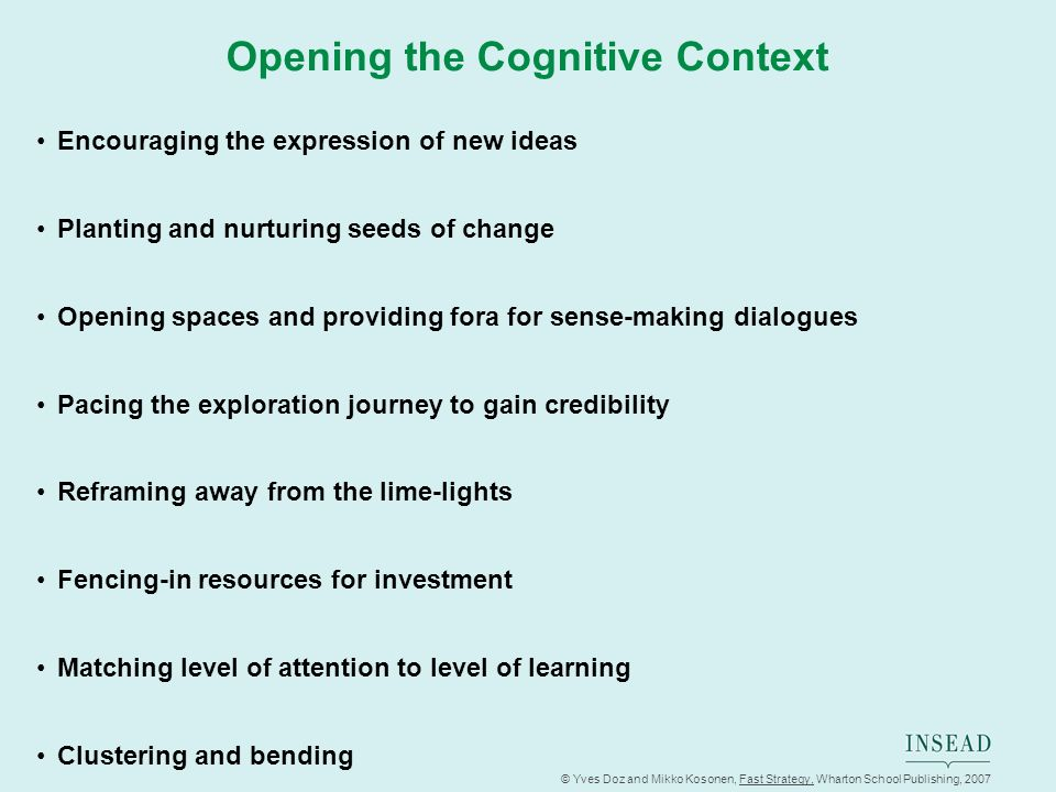 © Yves Doz and Mikko Kosonen, Fast Strategy, Wharton School Publishing, 2007 Opening the Cognitive Context Encouraging the expression of new ideas Pla