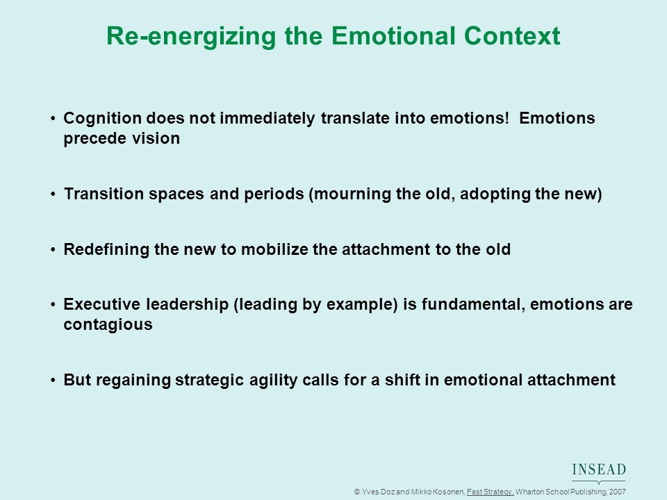 © Yves Doz and Mikko Kosonen, Fast Strategy, Wharton School Publishing, 2007 Re-energizing the Emotional Context Cognition does not immediately transl
