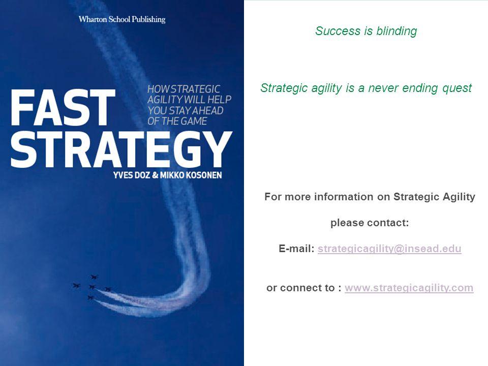 © Yves Doz and Mikko Kosonen, Fast Strategy, Wharton School Publishing, 2007 For more information on Strategic Agility please contact: E-mail: strateg