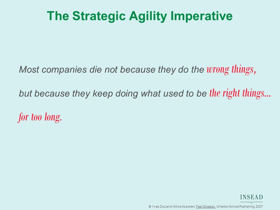 © Yves Doz and Mikko Kosonen, Fast Strategy, Wharton School Publishing, 2007 The Strategic Agility Imperative Most companies die not because they do t
