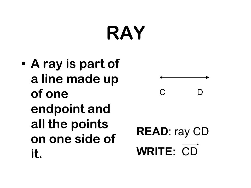 RAY A ray is part of a line made up of one endpoint and all the points on one side of it. READ: ray CD WRITE: CD CD