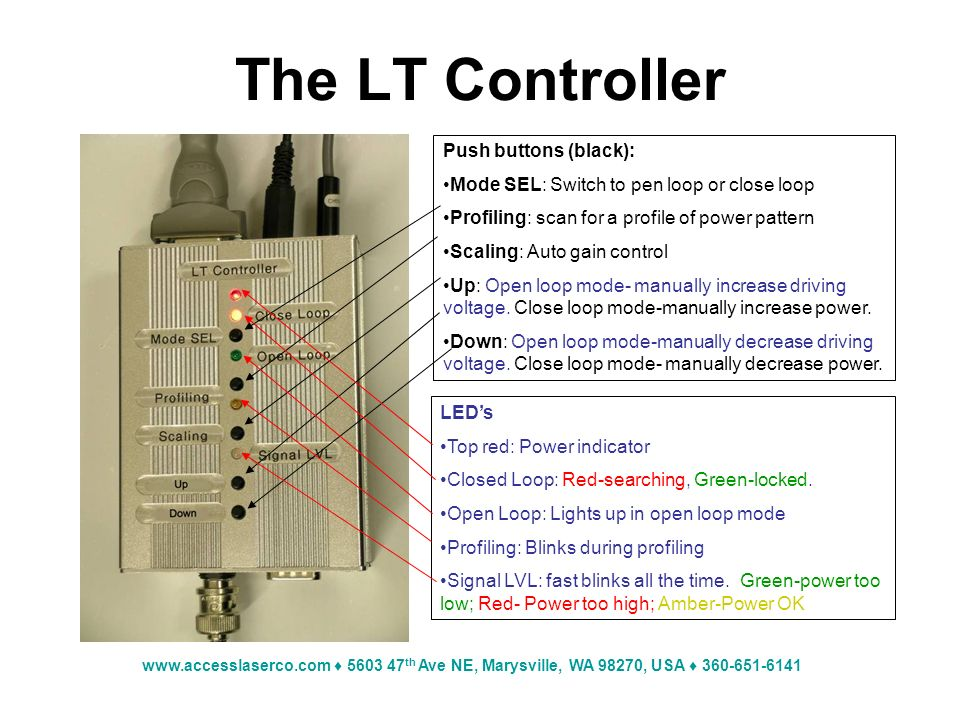 www.accesslaserco.com 5603 47 th Ave NE, Marysville, WA 98270, USA 360-651-6141 The LT Controller Push buttons (black): Mode SEL: Switch to pen loop or close loop Profiling: scan for a profile of power pattern Scaling: Auto gain control Up: Open loop mode- manually increase driving voltage.