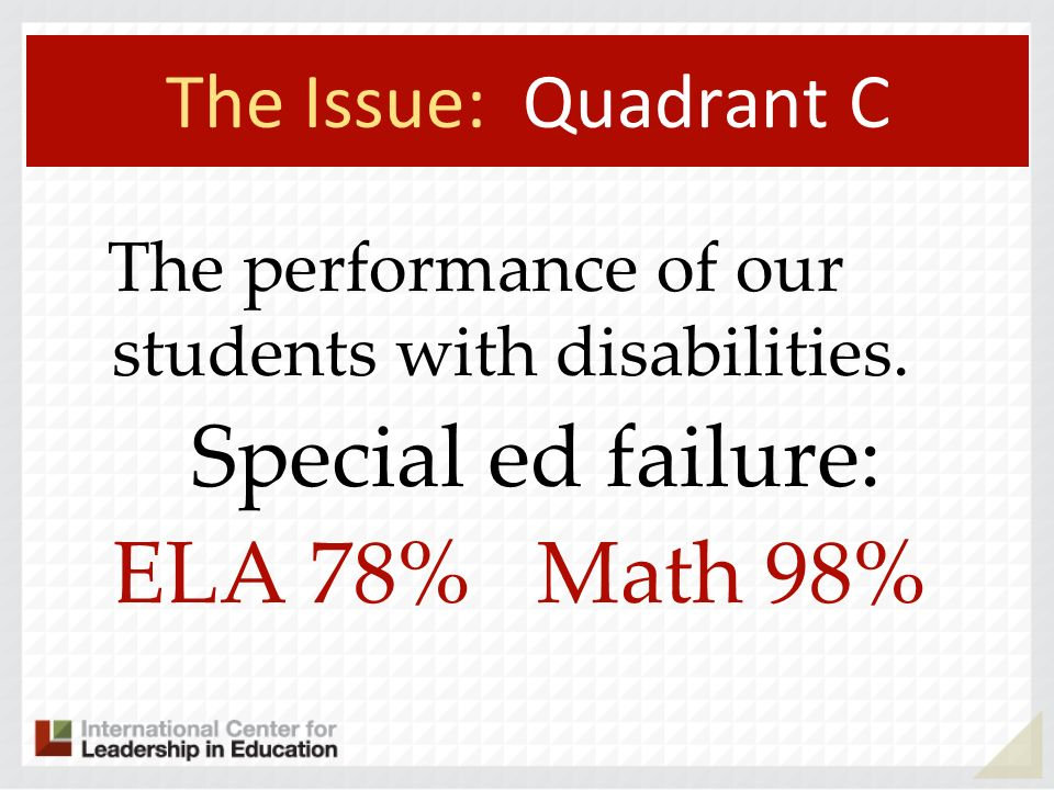 The Issue: Quadrant C The performance of our students with disabilities.