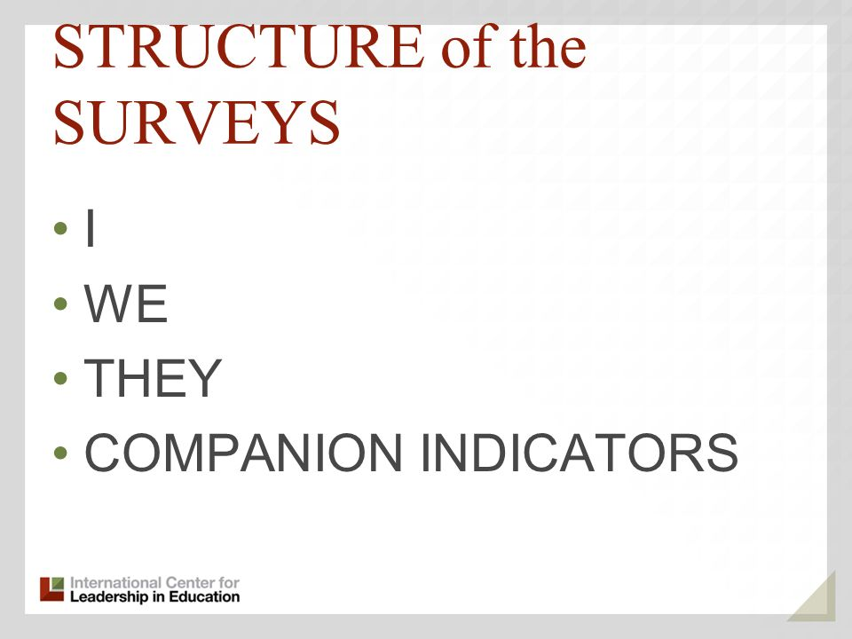 STRUCTURE of the SURVEYS I WE THEY COMPANION INDICATORS