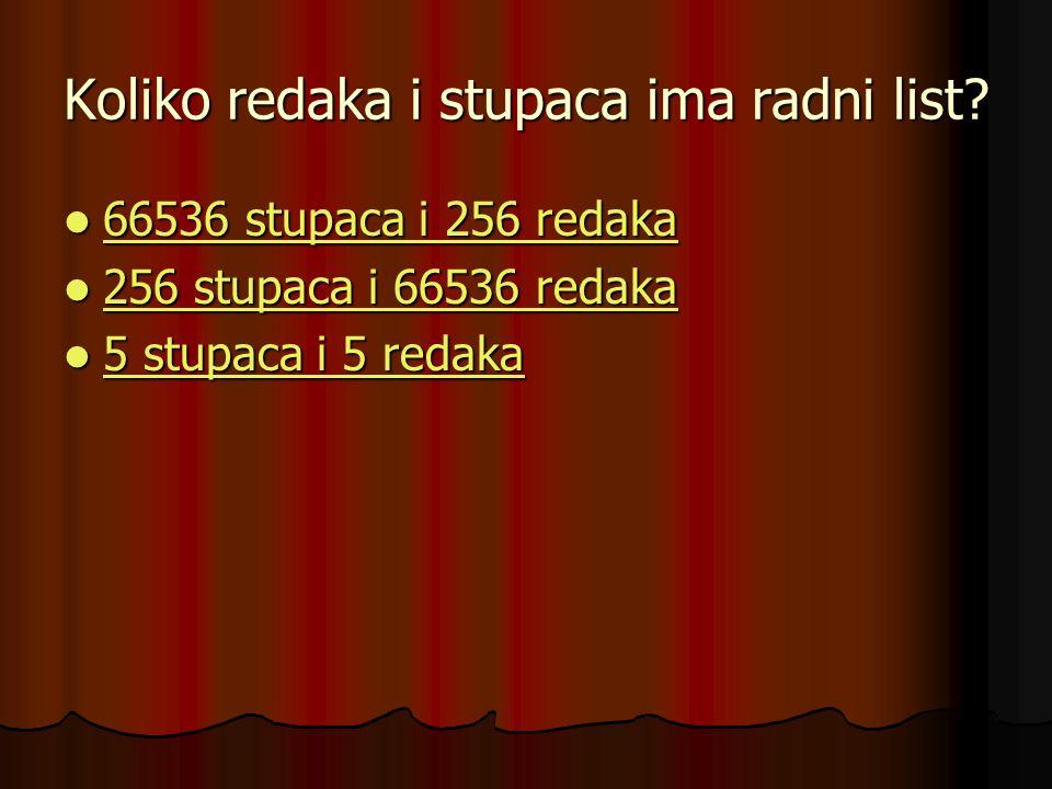 Koliko redaka i stupaca ima radni list? 66536 stupaca i 256 redaka 66536 stupaca i 256 redaka 66536 stupaca i 256 redaka 66536 stupaca i 256 redaka 25