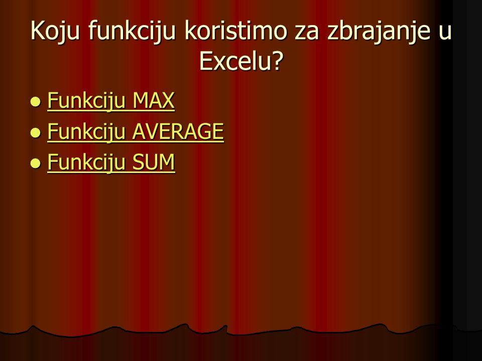 Koju funkciju koristimo za zbrajanje u Excelu? Funkciju MAX Funkciju MAX Funkciju MAX Funkciju MAX Funkciju AVERAGE Funkciju AVERAGE Funkciju AVERAGE