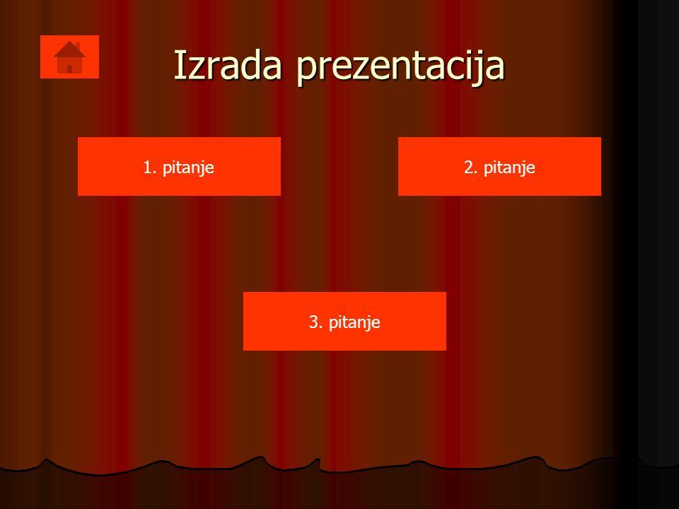 Izrada prezentacija 1. pitanje2. pitanje 3. pitanje