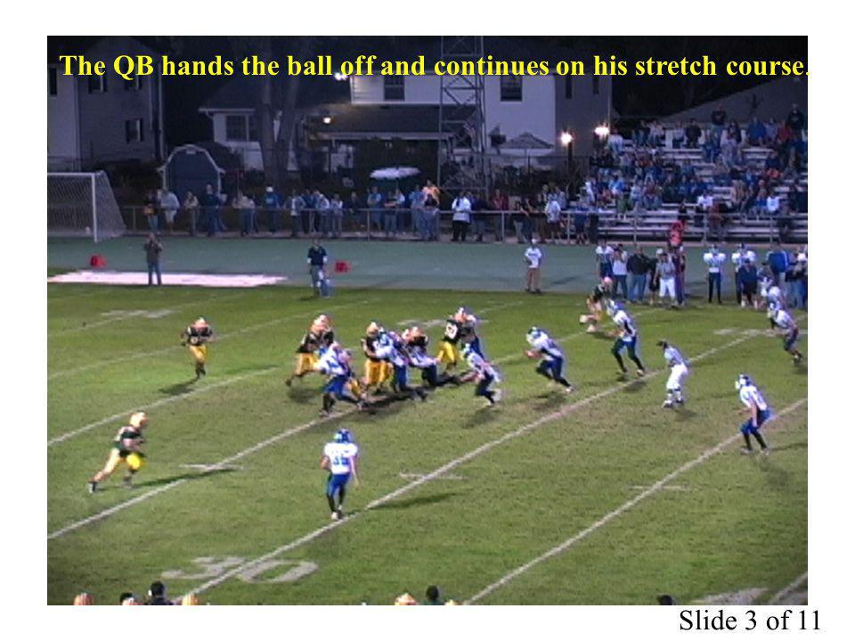 The QB hands the ball off and continues on his stretch course. Slide 3 of 11