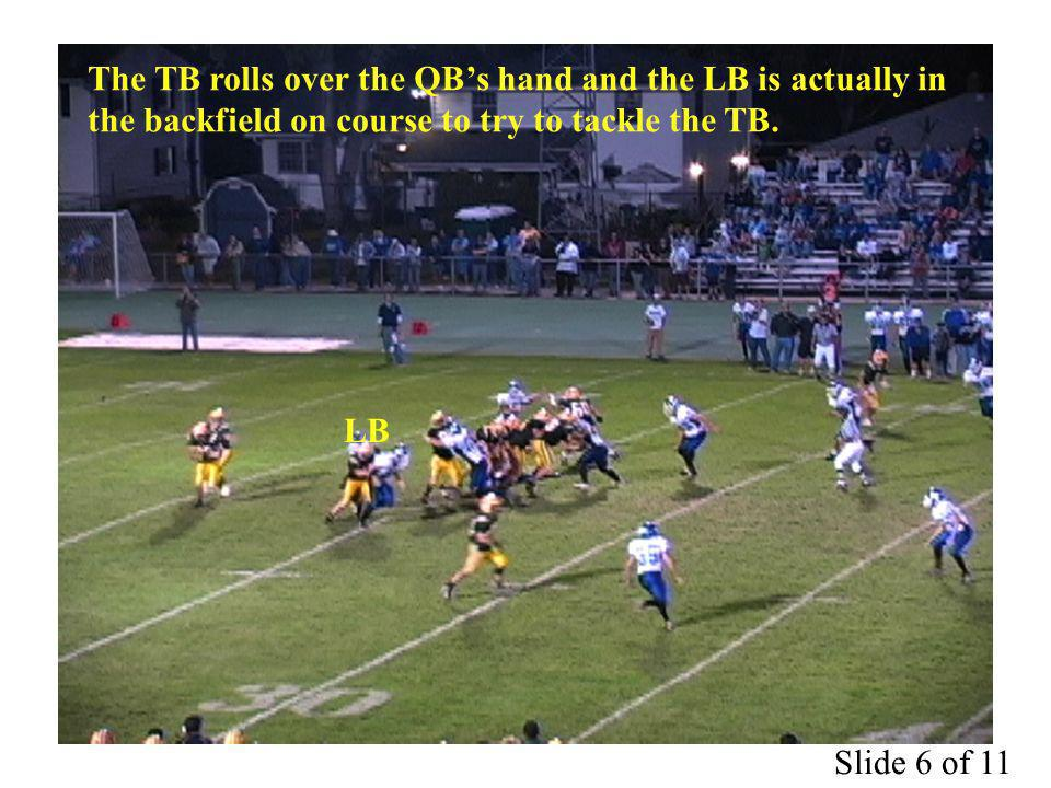 The TB rolls over the QBs hand and the LB is actually in the backfield on course to try to tackle the TB.