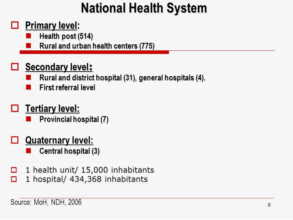 8 National Health System Primary level: Primary level: Health post (514) Health post (514) Rural and urban health centers (775) Rural and urban health centers (775) Secondary level : Secondary level : Rural and district hospital (31), general hospitals (4).