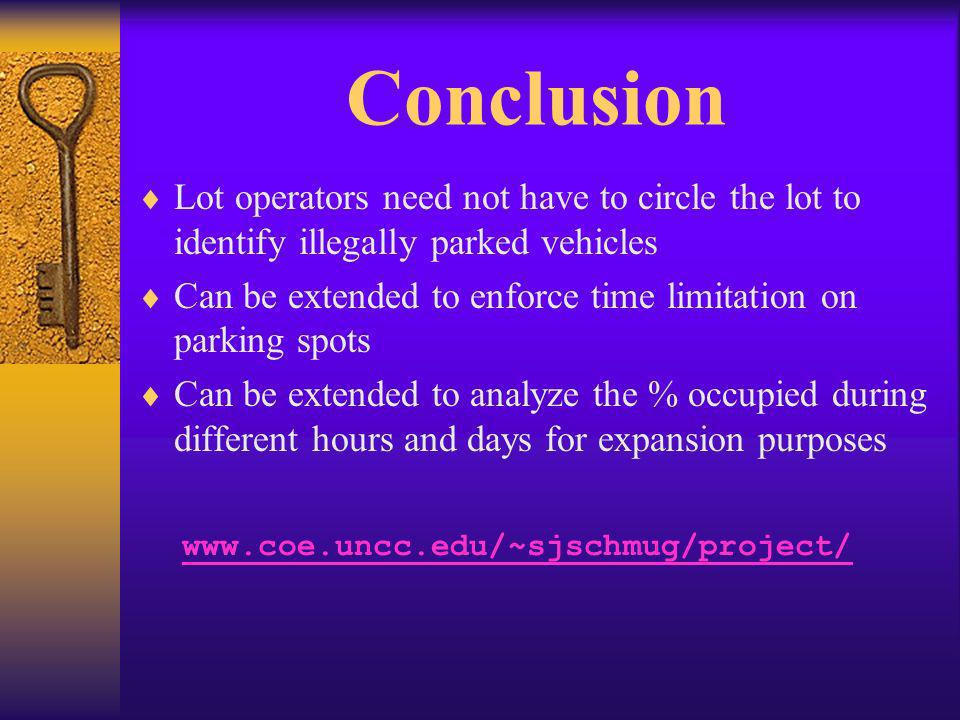 Conclusion Lot operators need not have to circle the lot to identify illegally parked vehicles Can be extended to enforce time limitation on parking spots Can be extended to analyze the % occupied during different hours and days for expansion purposes www.coe.uncc.edu/~sjschmug/project/