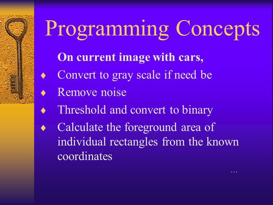 Programming Concepts Analyze the results, If foreground area of a rectangle > 50%(?) of the total area of the original rectangle, the spot is taken, else it is open If there are foreground pixels of N width on either direction of a known line, the vehicle is parked illegally Further analysis