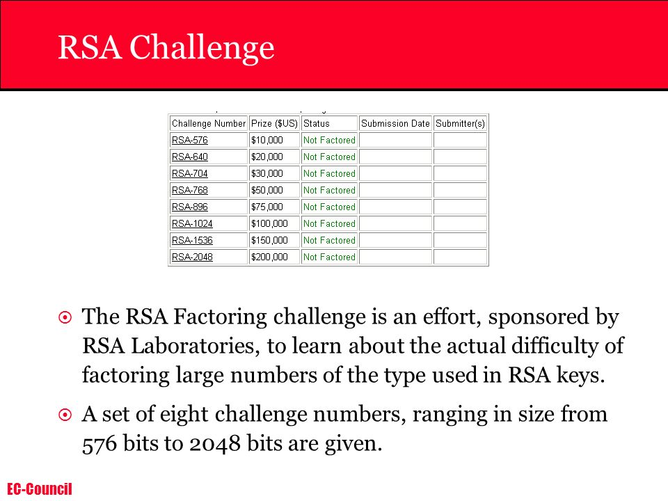 EC-Council RSA Challenge The RSA Factoring challenge is an effort, sponsored by RSA Laboratories, to learn about the actual difficulty of factoring la