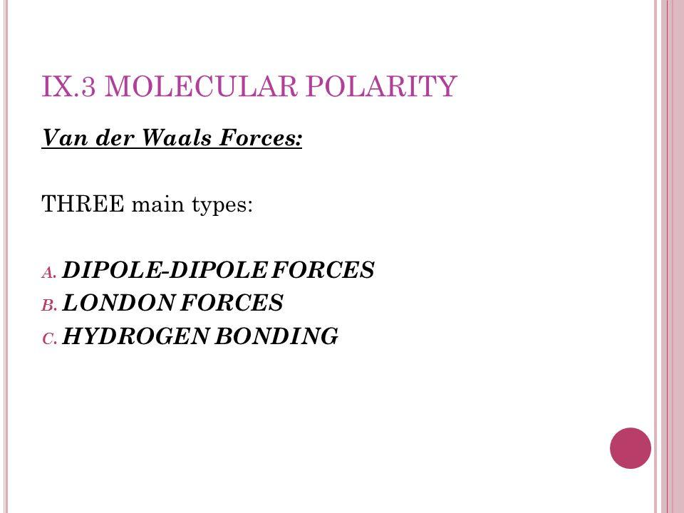 IX.3 MOLECULAR POLARITY Van der Waals Forces: THREE main types: A. DIPOLE-DIPOLE FORCES B. LONDON FORCES C. HYDROGEN BONDING