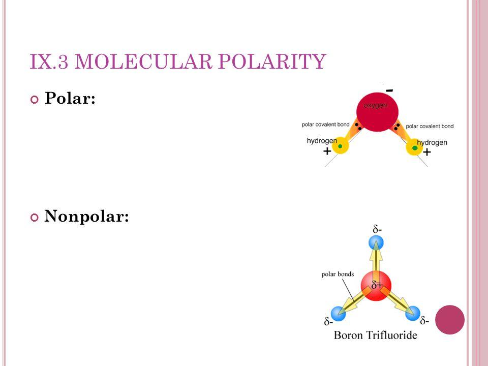 IX.3 MOLECULAR POLARITY Polar: Nonpolar: