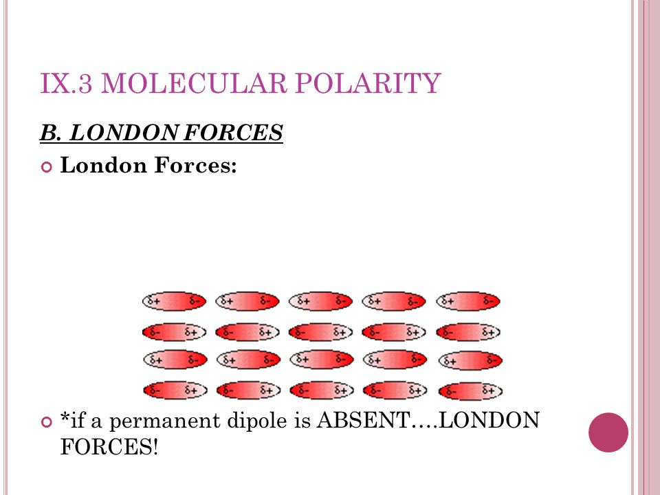 IX.3 MOLECULAR POLARITY B. LONDON FORCES London Forces: *if a permanent dipole is ABSENT….LONDON FORCES!