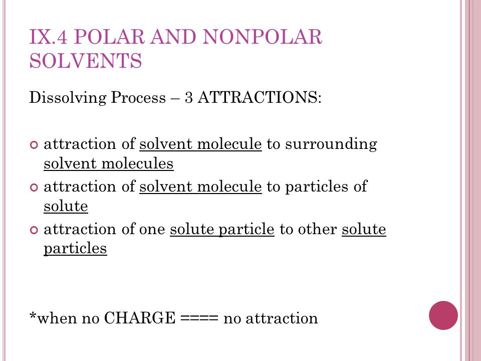 IX.4 POLAR AND NONPOLAR SOLVENTS Dissolving Process – 3 ATTRACTIONS: attraction of solvent molecule to surrounding solvent molecules attraction of sol