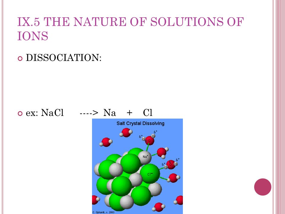 IX.5 THE NATURE OF SOLUTIONS OF IONS DISSOCIATION: ex: NaCl ----> Na + Cl