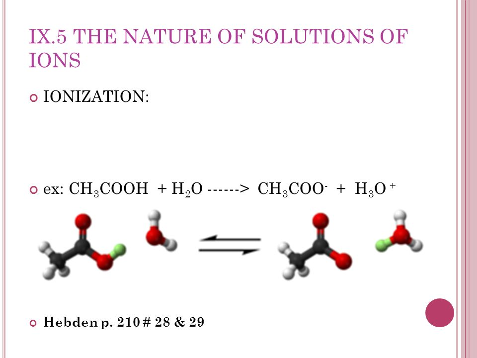 IX.5 THE NATURE OF SOLUTIONS OF IONS IONIZATION: ex: CH 3 COOH + H 2 O ------> CH 3 COO - + H 3 O + Hebden p. 210 # 28 & 29