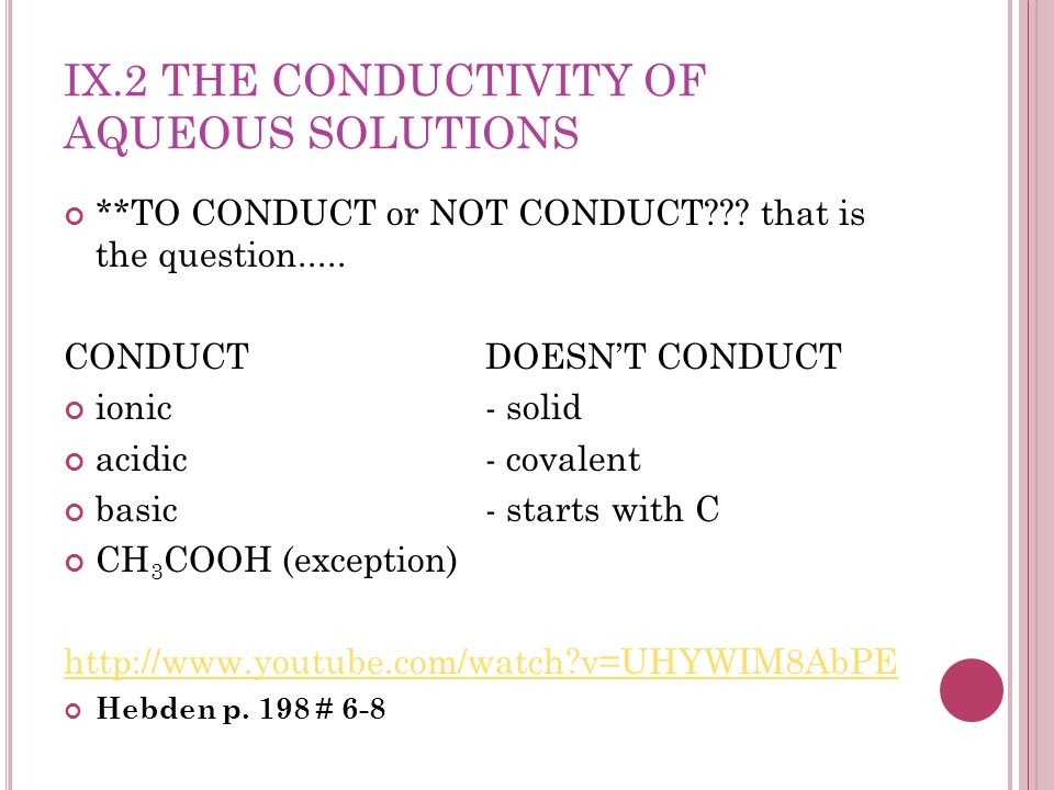 IX.2 THE CONDUCTIVITY OF AQUEOUS SOLUTIONS **TO CONDUCT or NOT CONDUCT??? that is the question..... CONDUCTDOESNT CONDUCT ionic- solid acidic- covalen