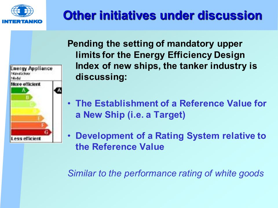 Other initiatives under discussion Pending the setting of mandatory upper limits for the Energy Efficiency Design Index of new ships, the tanker industry is discussing: The Establishment of a Reference Value for a New Ship (i.e.