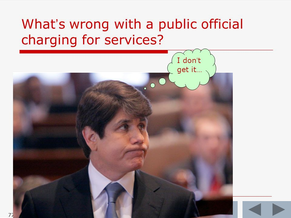 Whats wrong with a public official charging for services? 77 I dont get it…