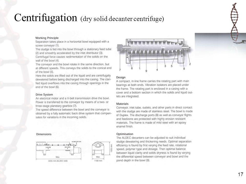 17 Centrifugation (dry solid decanter centrifuge)