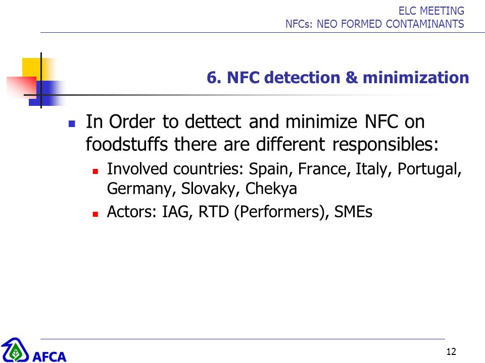 ELC MEETING NFCs: NEO FORMED CONTAMINANTS 12 6. NFC detection & minimization In Order to dettect and minimize NFC on foodstuffs there are different re