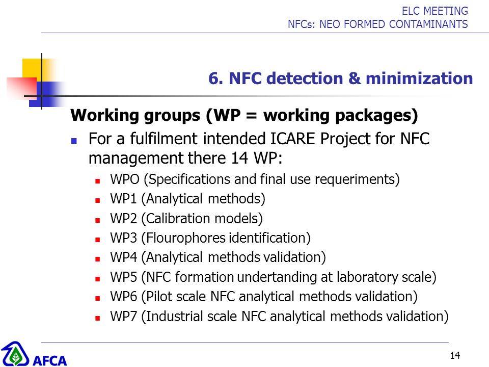 ELC MEETING NFCs: NEO FORMED CONTAMINANTS 14 6. NFC detection & minimization Working groups (WP = working packages) For a fulfilment intended ICARE Pr