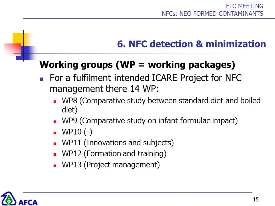 ELC MEETING NFCs: NEO FORMED CONTAMINANTS 15 6. NFC detection & minimization Working groups (WP = working packages) For a fulfilment intended ICARE Pr