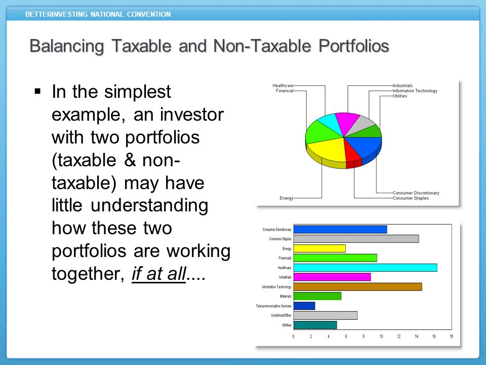 BETTERINVESTING NATIONAL CONVENTION Balancing Taxable and Non-Taxable Portfolios Without paying attention to how these portfolios should be working together, it will be nearly impossible to measure how well diversified in aggregate these portfolios are in relation to asset class, sector, and size - all important investing considerations.