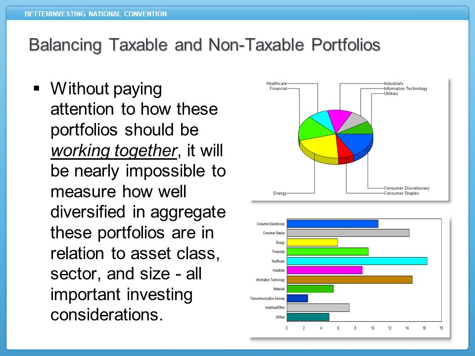 BETTERINVESTING NATIONAL CONVENTION Balancing Taxable and Non-Taxable Portfolios Without paying attention to how these portfolios should be working to