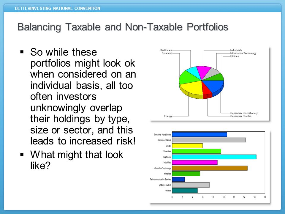 BETTERINVESTING NATIONAL CONVENTION Balancing Taxable and Non-Taxable Portfolios So while these portfolios might look ok when considered on an individual basis, all too often investors unknowingly overlap their holdings by type, size or sector, and this leads to increased risk.
