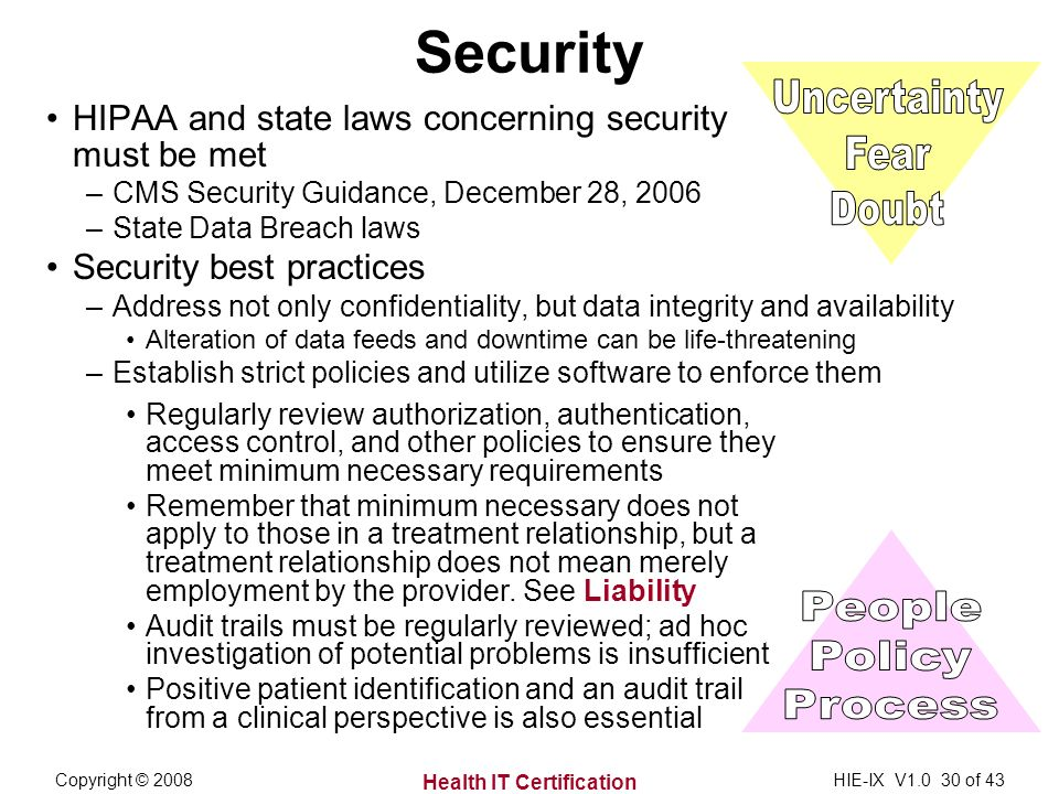 Health IT Certification Copyright © 2008HIE-IX V1.0 30 of 43 Security HIPAA and state laws concerning security must be met –CMS Security Guidance, December 28, 2006 –State Data Breach laws Security best practices –Address not only confidentiality, but data integrity and availability Alteration of data feeds and downtime can be life-threatening –Establish strict policies and utilize software to enforce them Regularly review authorization, authentication, access control, and other policies to ensure they meet minimum necessary requirements Remember that minimum necessary does not apply to those in a treatment relationship, but a treatment relationship does not mean merely employment by the provider.