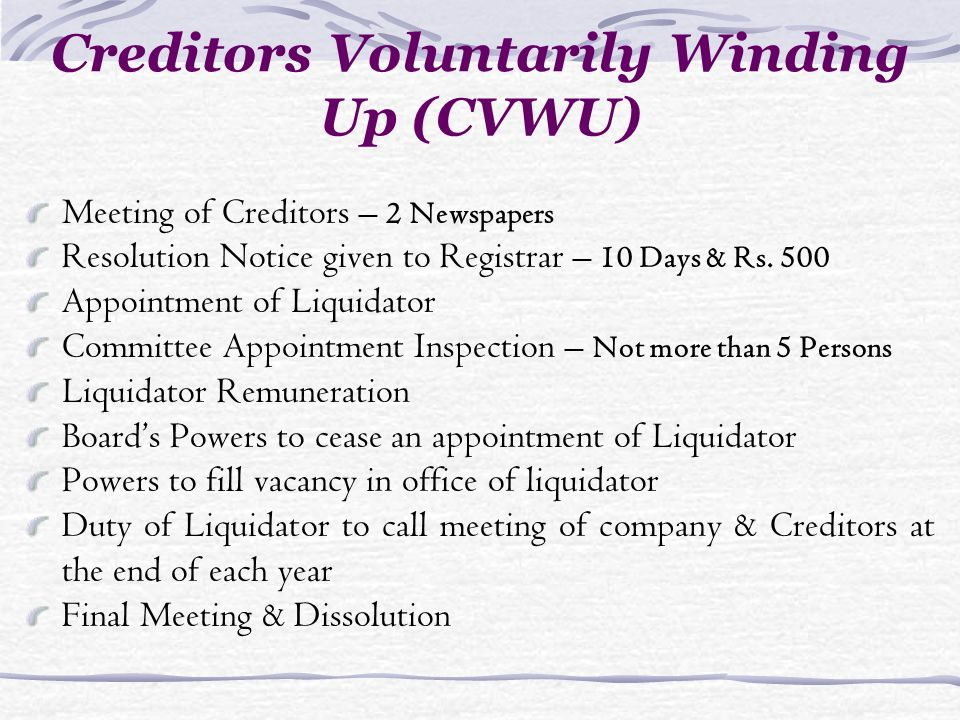 Creditors Voluntarily Winding Up (CVWU) Meeting of Creditors – 2 Newspapers Resolution Notice given to Registrar – 10 Days & Rs. 500 Appointment of Li