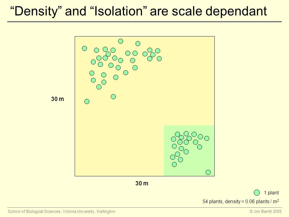 © Jim Barritt 2005School of Biological Sciences, Victoria University, Wellington Density and Isolation are scale dependant 30 m 1 plant 54 plants, density = 0.06 plants / m 2