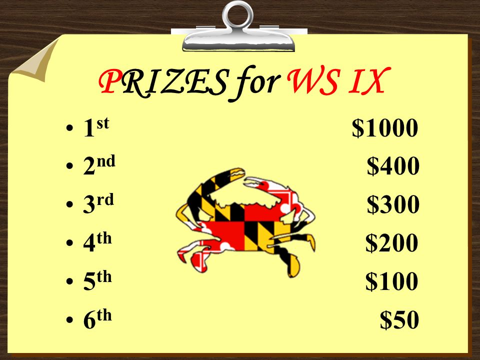 PRIZES for WS IX 1 st $1000 2 nd $400 3 rd $300 4 th $200 5 th $100 6 th $50