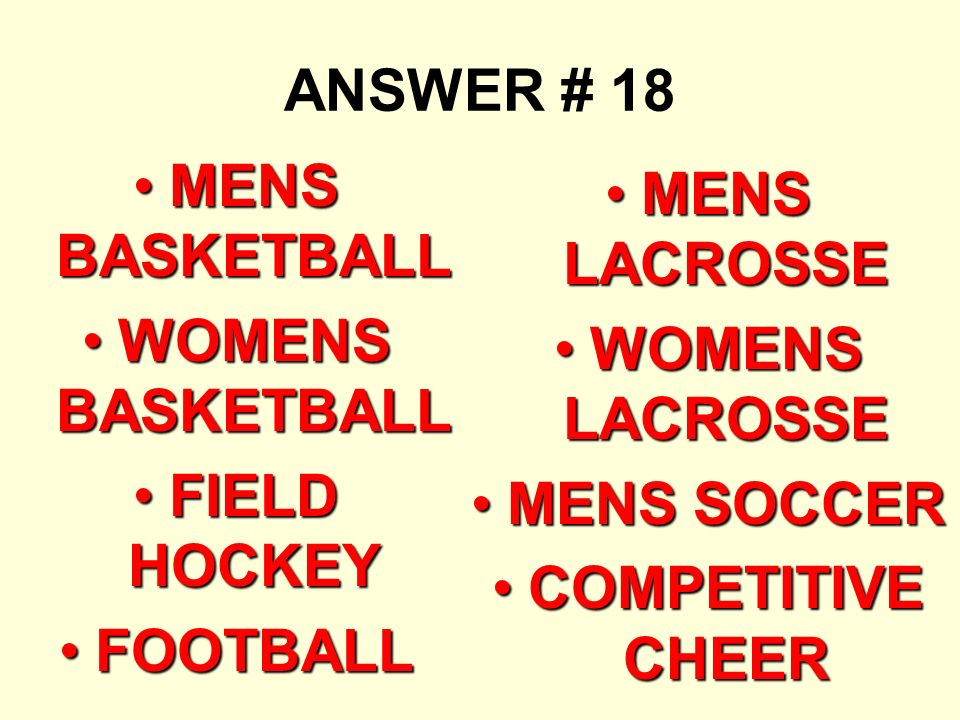 ANSWER # 18 MENS BASKETBALLMENS BASKETBALL WOMENS BASKETBALLWOMENS BASKETBALL FIELD HOCKEYFIELD HOCKEY FOOTBALLFOOTBALL MENS LACROSSEMENS LACROSSE WOMENS LACROSSEWOMENS LACROSSE MENS SOCCERMENS SOCCER COMPETITIVE CHEERCOMPETITIVE CHEER