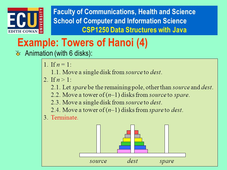 Faculty of Communications, Health and Science School of Computer and Information Science CSP1250 Data Structures with Java 1.If n = 1: 1.1.Move a single disk from source to dest.