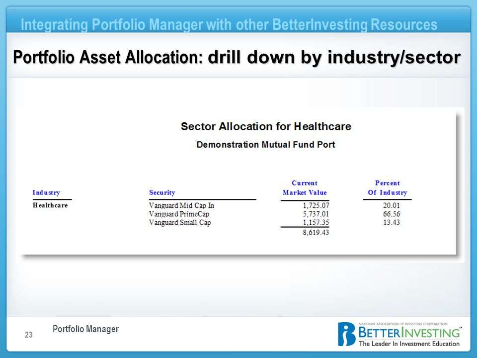 Portfolio Manager Integrating Portfolio Manager with other BetterInvesting Resources 23 Portfolio Asset Allocation: drill down by industry/sector