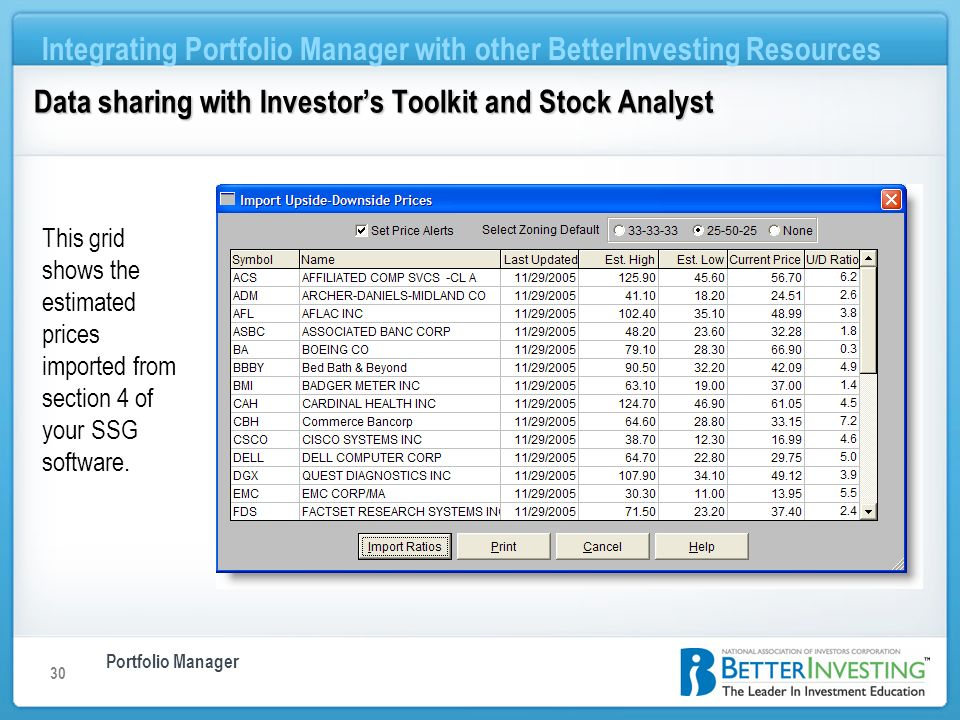 Portfolio Manager Integrating Portfolio Manager with other BetterInvesting Resources 30 This grid shows the estimated prices imported from section 4 o