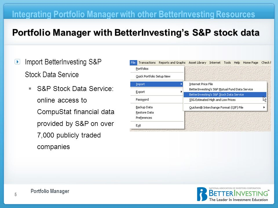Portfolio Manager Integrating Portfolio Manager with other BetterInvesting Resources 5 Portfolio Manager with BetterInvestings S&P stock data Import B