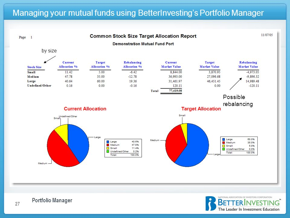 Portfolio Manager Managing your mutual funds using BetterInvestings Portfolio Manager 27 Possible rebalancing by size