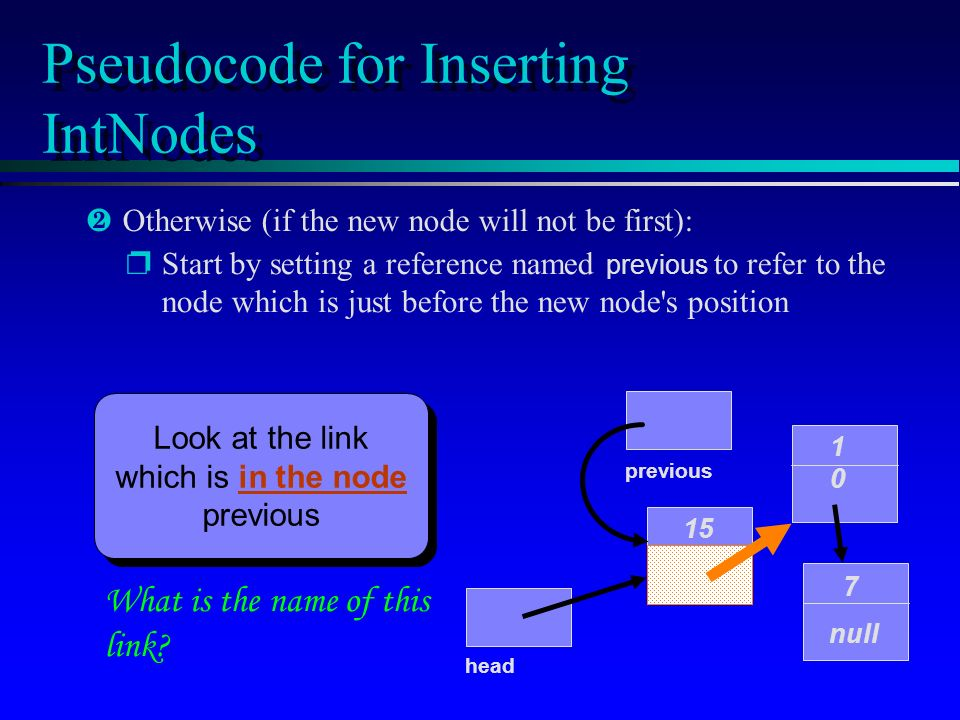 Pseudocode for Inserting IntNodes 15 1010 7 null head ·Otherwise (if the new node will not be first): Start by setting a reference named previous to refer to the node which is just before the new node s position What is the name of this link.