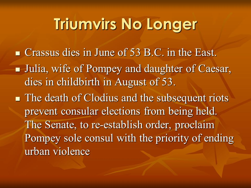Triumvirs No Longer Crassus dies in June of 53 B.C. in the East. Crassus dies in June of 53 B.C. in the East. Julia, wife of Pompey and daughter of Ca