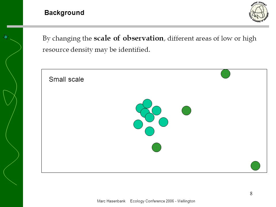 9 By changing the scale of observation, different areas of low or high resource density may be identified.