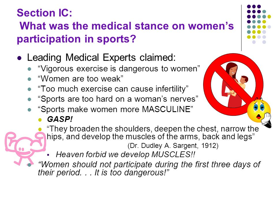 Section IC: What was the medical stance on womens participation in sports? Leading Medical Experts claimed: Vigorous exercise is dangerous to women Wo