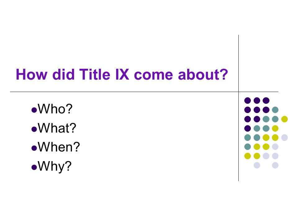 How did Title IX come about? Who? What? When? Why?